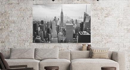 Wil jij jouw woonkamer aanvullen met deze prachtige zwart-wit skyline? Door het plaatsen van zwart-wit fotodecoratie in jouw woning komen de kleuren van jouw woonkamer er nog beter uit! ✨
