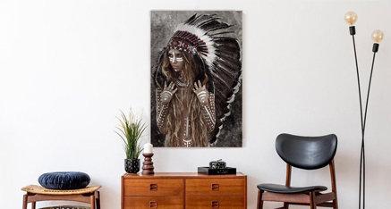 American indian woman ✨ Wauw wat een details in deze foto! 😍 Wat vinden jullie van deze foto? Laat het ons weten in de comments! Omdat wij kunnen afdrukken op de hoogste resolutie komt deze afbeelding echt tot leven in jouw woning.✨